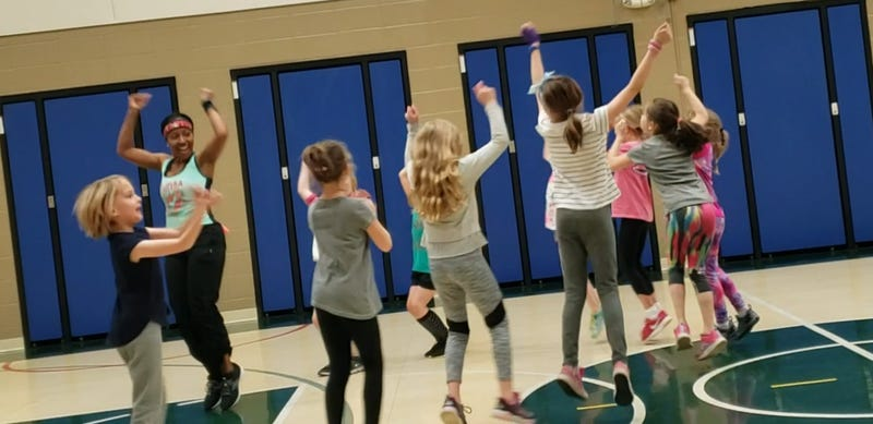 Naperville personal trainer Jepharya Badie teaches a youth class