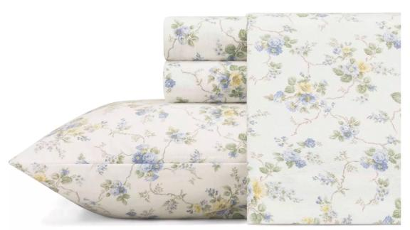 Laura Ashley Printed Pattern Flannel Sheet Set