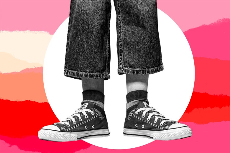 A child wearing jeans that are too small.