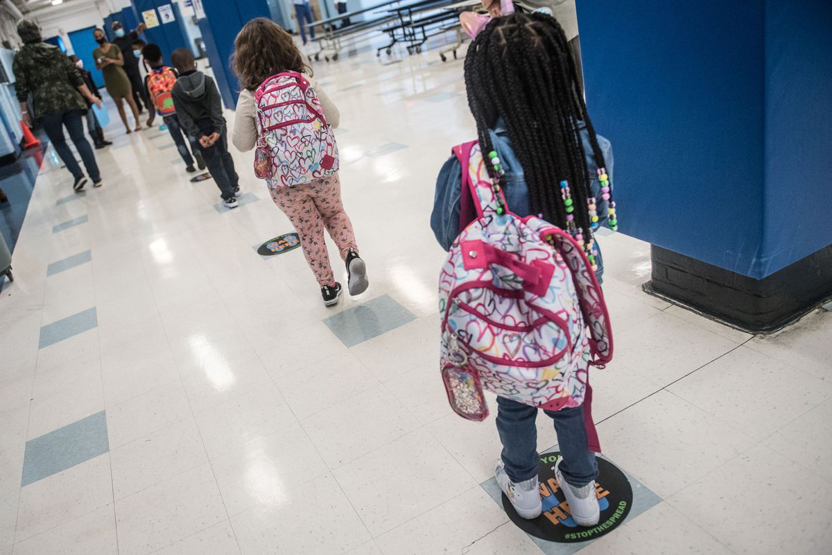 Students attend the first day of school at P.S. 188 The Island School in Manhattan, Sept. 29, 2020.