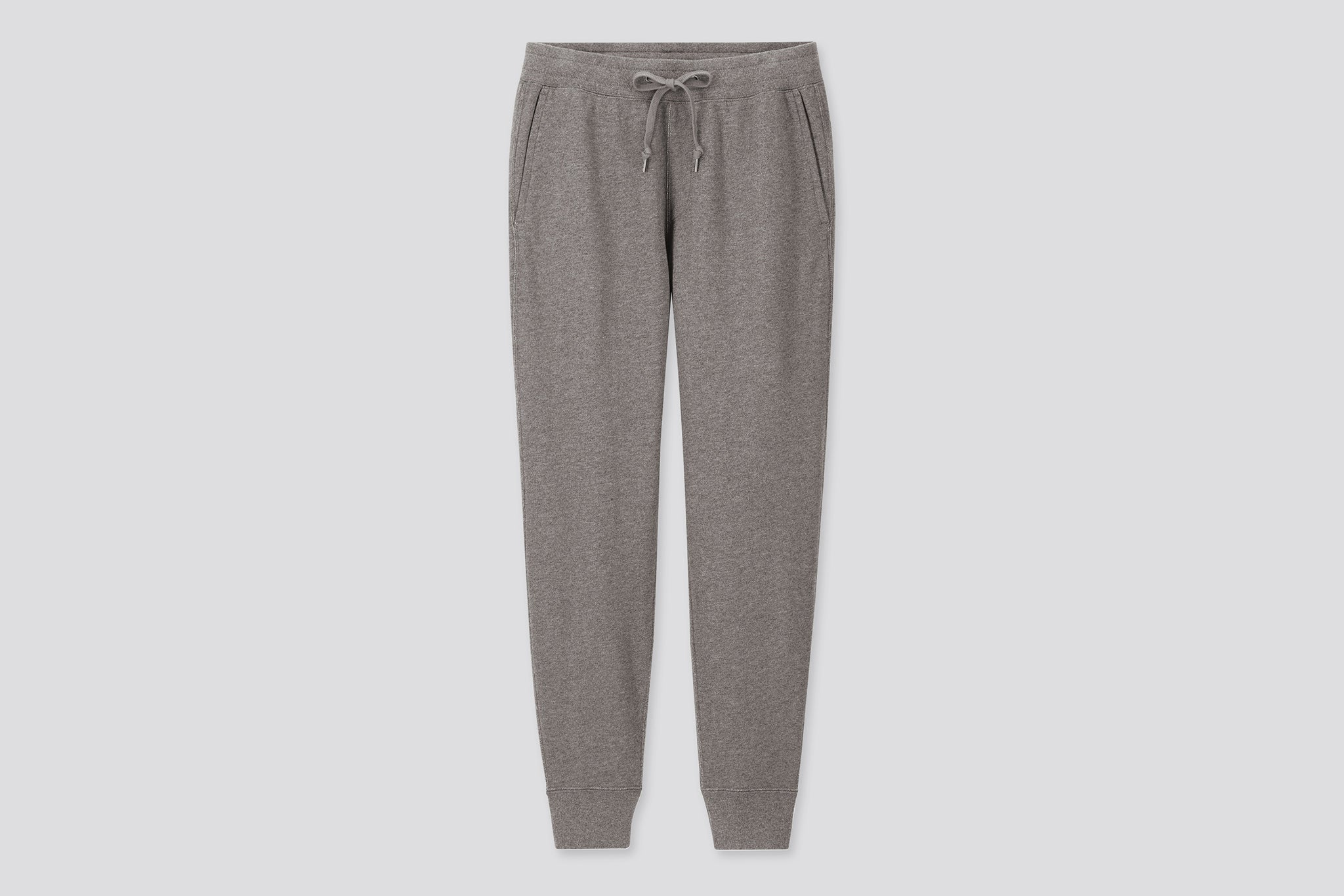 A pair of grey Uniqlo sweatpants.