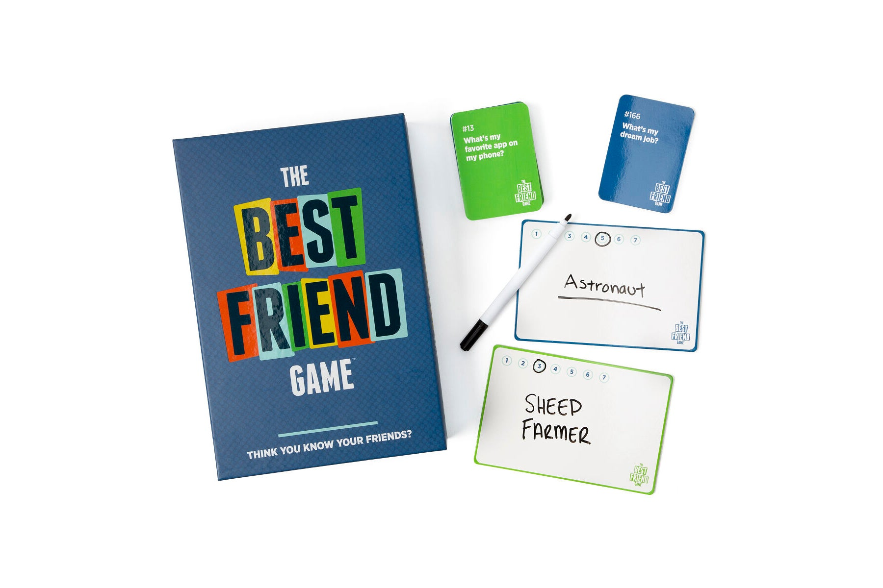 The Best Friend Game, shown with cards and drawing boards,